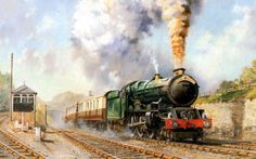 Art Train Journeys : Steam Train Painting by Howard Fogg - The Royal Duchy , Steam Train Painting by Howard Fogg 4 Train Wallpaper, Retro Wallpaper, Background For Photography, Photography Backdrops, Steam Art, Bonde, Train Art, Train Engines, Trains
