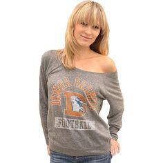And this will go perfect with that hat : )  Junk Food Denver Broncos Women's Triblend Off Shoulder Raglan Sweatshirt - NFLShop.com