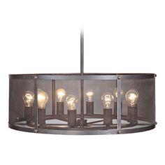 Jeremiah Lighting Blacksmith Matte Black Gilded Pendant Light with Drum Shade | 37190-MBKG | Destination Lighting
