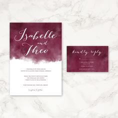 Maroon Watercolor Wedding Invitation - Printable Wedding Invitation - Watercolor Invitations - Customizable Colors