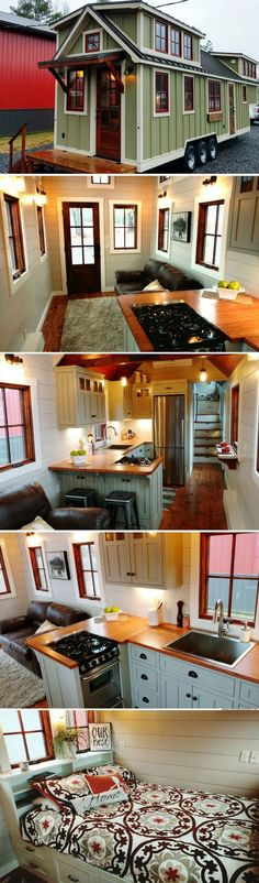 A luxury 352 sq ft farmhouse from Timbercraft Tiny Homes - so cute, but I need a T.V.and bookcases.