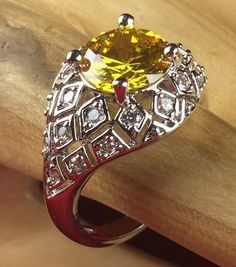 2 ct Genuine Citrine combo in 925 Silver - Cocktail Ring CH043|. Starting at $1