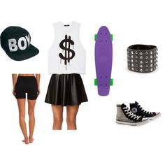 """""""Skater Chick Needs Food"""" by blackjay on Polyvore"""