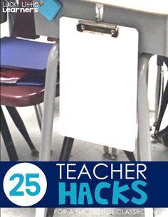 25 Teacher hacks for a Successful classroom - Lucky Little Learners Classroom Desk, Classroom Hacks, Classroom Organisation, Classroom Behavior, Teacher Organization, Kindergarten Classroom, School Classroom, Classroom Management, Behavior Management