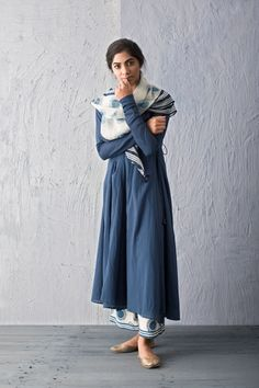 BREEZY INDIGO A collection of easy contemporary silhouettes with handblock prints in natural indigo dye. Ethnic Outfits, Indian Outfits, Trendy Outfits, Casual Indian Fashion, Ethnic Fashion, Indian Attire, Indian Ethnic Wear, Pakistani Dresses, Indian Dresses