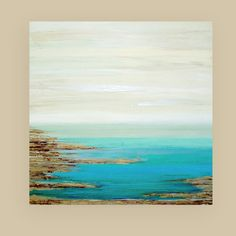 This is an original one of a kind acrylic abstract painting on gallery wrapped canvas with no visible staples by Ora Birenbaum.  Very large in size. This is a gorgeous abstract seascape to add a pop of color to any decor. I used very soft shades of cream with shades of sea foam, turquoise, teal, and ocean blues with accents of tan, taupe, and chocolate browns. There are also touches of metallic pewter and gold for a touch of shimmer.  All paintings will be created with a horizontal display…