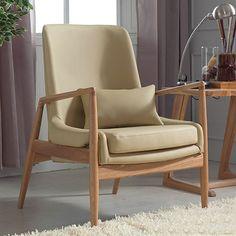 CUI Moderne Design Massivholz Rahmen Weich Sofa Mit Kissen 1 Sitzer Beige