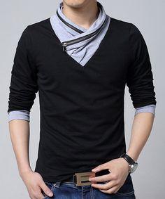 Stand Collar Zipper Design Color Block Splicing Stylish Long Sleeve Men's T-Shirt