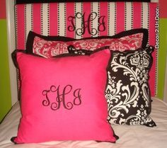 Hot pink and black dorm decorating