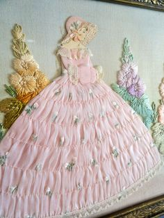 Huge Lady Belle Ribbon Doll Art & Embroidered Floral Picture / Tray