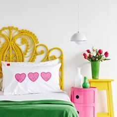 Salvation Jane Home - The Design Files Yellow Headboard, Yellow Bedding, Wicker Headboard, Wicker Bedroom, Painted Headboard, Wicker Couch, Bedding Sets, Iron Headboard, Wicker Man