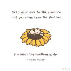 Keep your face to the sunshine and you cannot see the shadows.....it's what the sunflowers do.