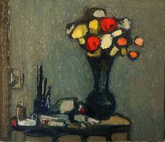 "Saatchi Art Artist Tadeusz Deregowski; Painting, ""Flowers on a shelf"" #art"