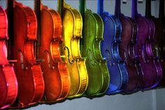 Rainbow violins. My Fvorite Color and My Favorite Instrument!