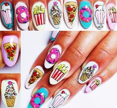 These yummy-looking junk food nails. 25 Times Nail Art Blew Your Mind In 2015 Crazy Nail Art, Crazy Nails, New Nail Art, Natural Wedding Nails, Simple Wedding Nails, Diy Nails, Cute Nails, Pretty Nails, Crazy Nail Designs
