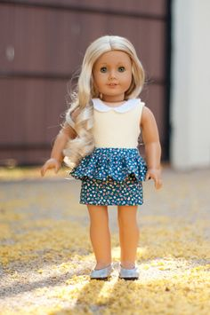 Floral Peplum Skirt For An American Girl Doll Or Other 18 Inch Doll