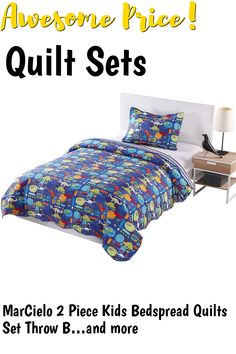 MarCielo 2 Piece Kids Bedspread Quilts Set Throw Blanket for Teens Boys Girls Bed Printed Bedding Coverlet, Twin Size, Dinosaur (Twin) #quiltsets Coverlet Bedding, Comforters, Quilt Sets, Bed Spreads, Boy Or Girl, Quilts, Blanket, Boys, Furniture