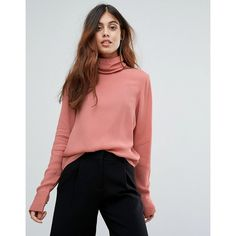 Vero Moda High Neck Blouse (€27) ❤ liked on Polyvore featuring tops, blouses, pink, pink top, red long sleeve blouse, rayon tops, red long sleeve top and long sleeve tops