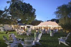 arrange outdoor seating areas using the camp chairs with decorating tables for drinks and food