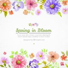 Watercolor flowers spring background