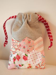 Drawstring Bag with Hexagon Patchwork by sewsewnsew,