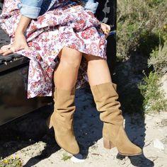 7cm Bota tacón piel mujer burdeosazul