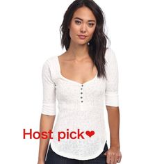 Host pick! Slub Rip Sweetheart Henley Size small with 3/4 sleeves. 70% cotton and 30% polyester 26 inches long. Distressed edging that adds a relaxing style. Comes with an extra button. Free People Tops Blouses