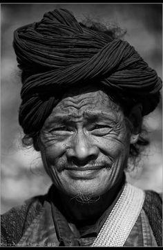India. Arunachal Pradesh. Digaru Mishmi man with traditional head gear
