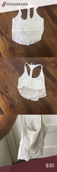 Free people workout top White free people workout top. Crop top and open back. Size S. worn once. Built in bra. Free People Tops Crop Tops