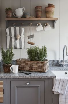 Drink coffee or tea, wash clothes, and play with plants here. Photo by Sims Hilditch Sims Hilditch, The White Hart Located in one of t. Country Kitchen, New Kitchen, Kitchen Dining, Kitchen Decor, Interior Design Studio, Interior Design Kitchen, Neptune Home, Rectangular Baskets, Cottage Renovation