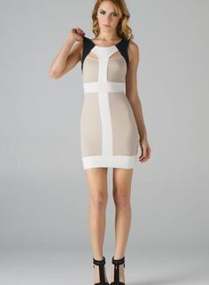 Taupe Colorblock Cut Out Bodycon Dress,  Dress, color block dress  body con, Chic