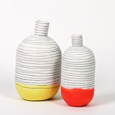 pottery dipped and striped
