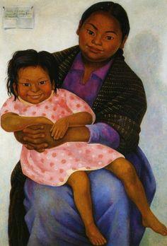 'Madesta and Inesita', Retratos de Modesta y Inesita 1939 - by Mexican artist Diego Rivera (1886-1957).
