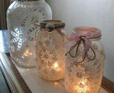recycle your empty jars using paper doilies from Talking Tables and Ribbons from Daintree.