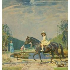 Sir Alfred James Munnings, Portrait of Miss Patricia Grace on a Pony