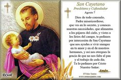 San Cayetano Faith Prayer, Catholic, Religion, Prayers, Baseball Cards, Quotes, Feng Shui, Angeles, Recipes