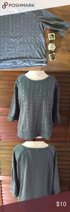 Gray Studded Sweatshirt Silver studded 3/4 length sweatshirt by Extra Touch.  Fair condition, but it is missing one stud and has some pilling, mostly in the underarms. 60% cotton, 40% polyester.  Size is 3X but I think it works better for 1X or 2X. Tops Sweatshirts & Hoodies