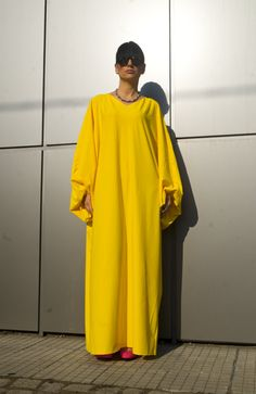 An inspiring EXCLUSIVE Kaftan Yellow Women Maxi Dress that you can wear and customize to fit your body any way you see fit. You can wear it in spring, summer and fall. It is made of high quality natural fabrics / material, soft and breathy, so loose the Dress to make you comfortable all the time.  !!!!!!! YOU CAN ORDER WITH SHORT SLEEVE AND BLACK COLOR !!!!!!  I can guarantee that this one of a kind model will make you stand out and enjoy your picnic or night out!   ~~~~I create and made...