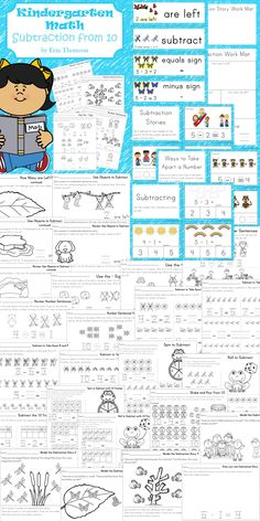 Worksheets, work mats, and task cards to teach or review subtracting from 10 in…