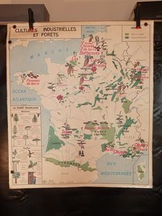 French Vintage school PARIS FRANCE MAP forest industrial crop classroom art deco | eBay