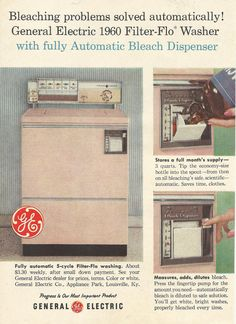 Pink GE Clothes Watsher Original 1959 Vintage Print Ad Color Photo General Electric 1960 Filter-Flo Washer Fully Automatic Bleach Dispenser