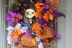 Pre Lit Halloween Skeleton Wreath  Handmade by LindasAtticEmporium, $139.99