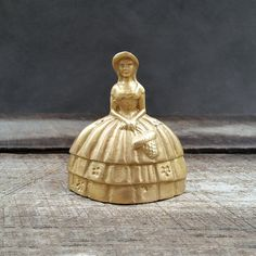 Brass Victorian Girl Bell  Flower Girl Bell  Vintage