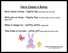 Here Comes a Bunny Chant Easter Songs For Kids, Easter Activities For Toddlers, Songs For Toddlers, Lesson Plans For Toddlers, Kids Songs, Lessons For Kids, Easter Songs For Preschoolers, April Preschool, Preschool Music