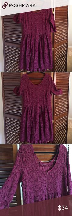 Plus size lace dress Beautiful lace dress. Fully lines the back is a bit low. Pleats on front. Wore this dress once and got lots of compliments on it !! Hits below knee 3/4 length sleeves Lane Bryant Dresses