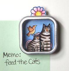 Shadow Box Refrigerator Magnet Tabby Cat  and Kitten by SusanFayePetProjects on Etsy, $9.00