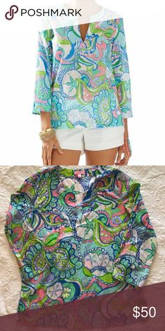 Lilly Pulitzer Amelia Island Tunic- Conch Republic EUC Amelia Island Tunic in Conch Republic. Worn once! Will be steamed prior to shipping! Lilly Pulitzer Tops