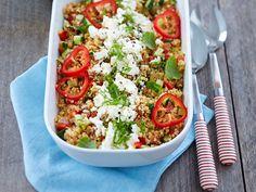 cold pasta salad recipes for bbq Vegetarian Salad Recipes, Pasta Salad Recipes, Veggie Recipes, Healthy Recipes, Feta, I Love Food, Good Food, Salty Foods, Food Cravings