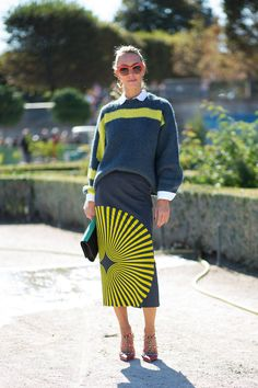 spectacular Dries skirt. #ElinaHalimi in Paris. | @andwhatelse