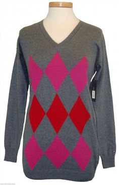 69.50$  Buy here - http://viria.justgood.pw/vig/item.php?t=yoci4426674 - Tommy Hilfiger Womens Argyle Sweater NEW